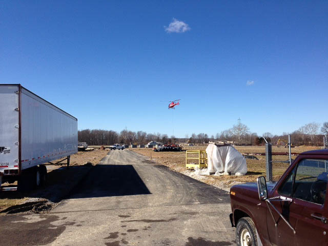 Helicopter Picking Up The Air Handler